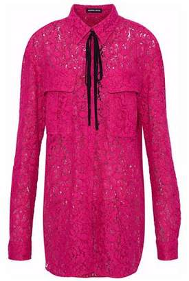 Markus Lupfer Pussy-Bow Cotton-Blend Lace Shirt