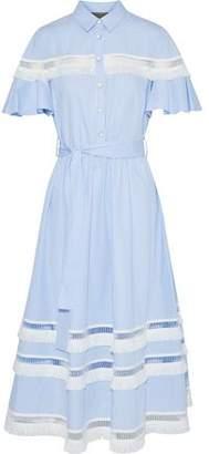 Lela Rose Embellished Striped Cotton-Poplin Midi Shirt Dress