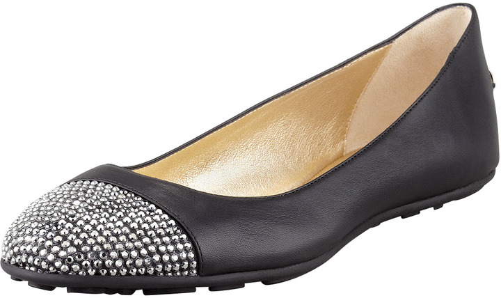 Jimmy Choo Wrena Crystal-Toe Ballerina Flat, Black/Anthracite