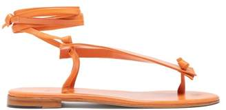 Martiniano Bibiana Ankle Tie Leather Sandals - Womens - Orange