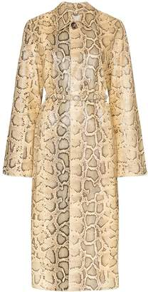 Bottega Veneta python-print belted coat