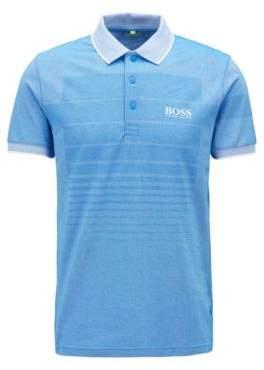 BOSS Hugo Cotton-blend patterned polo shirt contrast pique collar L Blue