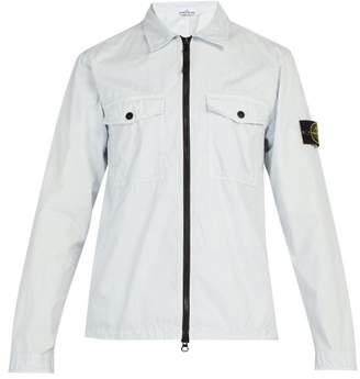 Stone Island Garment Dyed Zip Through Cotton Overshirt - Mens - Light Blue