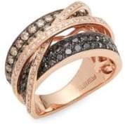 Effy Diamond, Brown Diamond, Black Diamond and 14K Rose Gold Crossover Ring