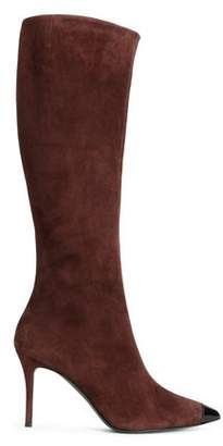 Giuseppe Zanotti Lucrezia Patent Leather-trimmed Suede Boots