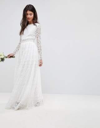 Asos DESIGN EDITION Lace Long Sleeve Crop Top Maxi Wedding Dress
