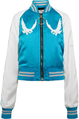 Off-White - Souvenir Embroidered Satin Bomber Jacket - Blue $1,665 thestylecure.com