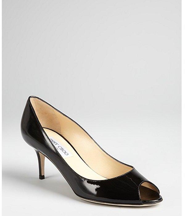 Jimmy Choo black patent leather 'Isabel' peep toe kitten heels