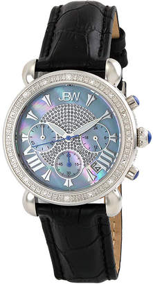 JBW Victory Womens 1/6 CT. T.W. Diamond Black Leather Strap Watch JB-6210L-C