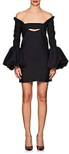 Valentino Women's Bubble-Cuff Wool-Silk Minidress-Black
