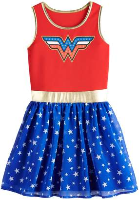 Licensed Character Girls 7-16 DC Comics Graphic Fit & Flare Dress