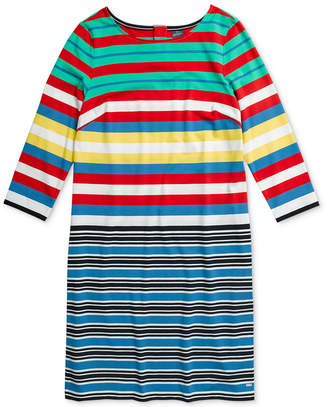 Tommy Hilfiger Adaptive Women Hudson Multi Striped Shift Dress with Magnetic Closure