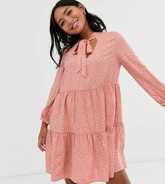 New Look Petite pussy bow smock dress in pink polka dot