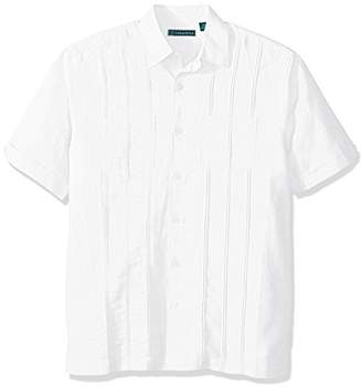 Cubavera Men's Short Sleeve Linen-Blend Shirt with Two Top Pockets and Pleats