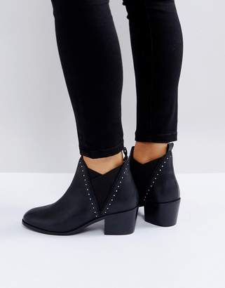 Rule London Pinstud Kitten heel Leather Boot