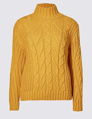 M&S Collection Cable Funnel Neck Jumper