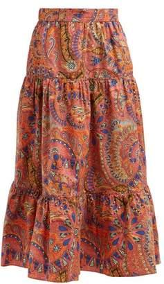 Etro Paisley Print Mid Rise Tiered Midi Skirt - Womens - Pink Multi