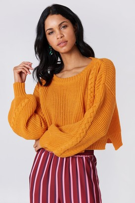 NA-KD Na Kd Short Cable Knitted Sweater Blue