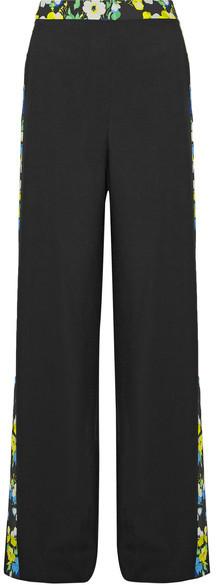 MSGM - Floral-print Crepe Wide-leg Pants - Black