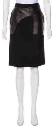 CNC Costume National Virgin Wool and Leather Skirt