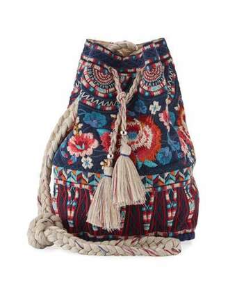 Johnny Was Mina Embroidered Linen Bucket Bag, Navy $145 thestylecure.com