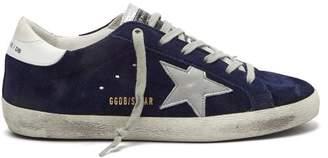 Golden Goose Super Star Suede Low Top Trainers - Womens - Navy