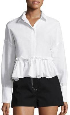 MSGM Seersucker Ruffled Shirt