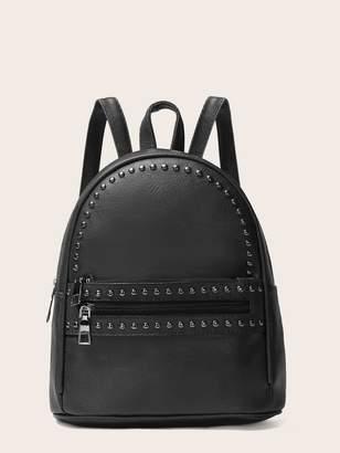 Shein Studded Decor Pocket Front Backpack