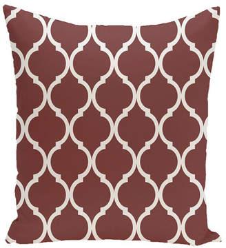 E By Design 16 Inch Rust Decorative Trellis Print Throw Pillow