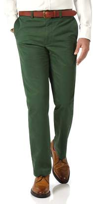 Charles Tyrwhitt Green Slim Fit Flat Front Washed Cotton Chino Pants Size W32 L32
