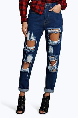 boohoo 70's High Rise Distressed Mom Jeans