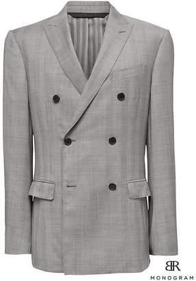 Banana Republic Monogram Slim Gray Plaid Double-Breasted Italian Wool Suit Jacket