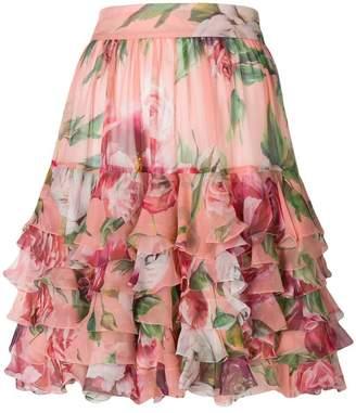 Dolce & Gabbana peony print ruffled skirt