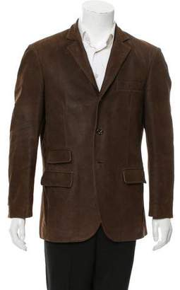 Brunello Cucinelli Leather Three-Button Blazer