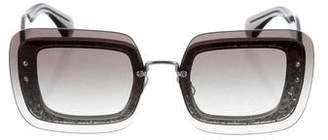 Miu Miu Glitter Square Sunglasses
