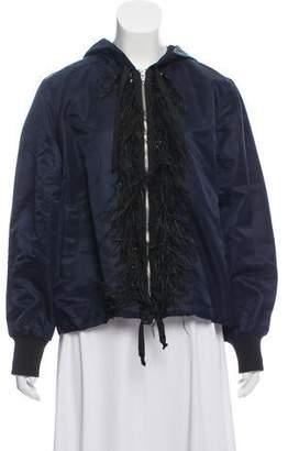 Cinq à Sept Embellished Ostrich Feather-Trimmed Jacket