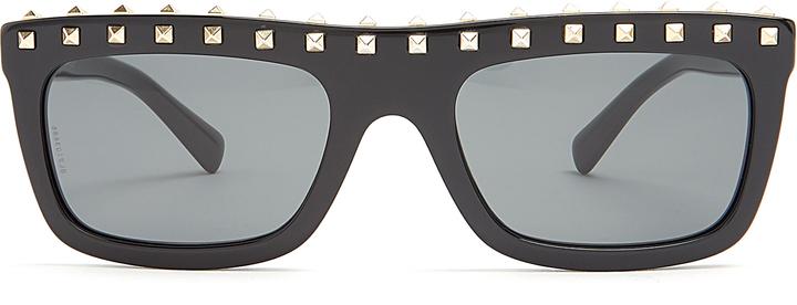 VALENTINO Rockstud-embellished flat-top acetate sunglasses