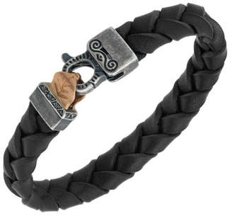 Marco Dal Maso Men's Woven Leather Bracelet w/ Rose Gold-Plated Clasp, Black