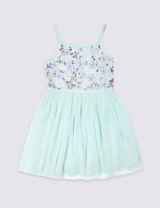 Marks and Spencer Embroidered Pleated Dress (3-16 Years)
