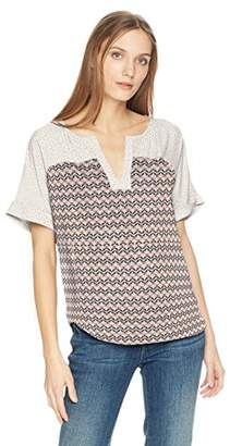 NYDJ Women's Yoke Print Mix Woven Tee