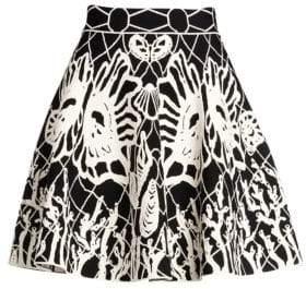 Alexander McQueen Women's Jacquard Knit Mini Skirt - Black White - Size Medium