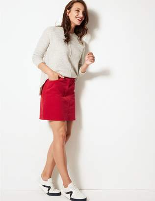 Marks and Spencer Cotton Rich A-Line Mini Skirt
