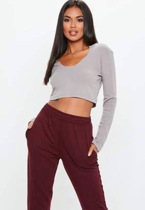 Missguided Grey Rib Notch Neck Long Sleeve Crop Top