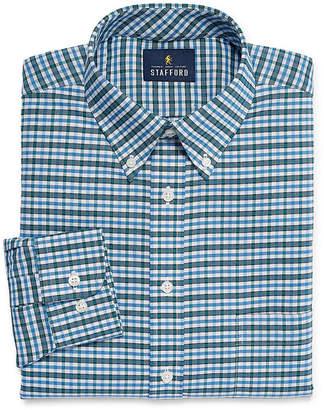 STAFFORD Stafford Travel Stretch Wrinkle Free Oxford Big And Tall Long Sleeve Oxford Plaid Dress Shirt