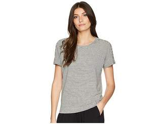 Lauren Ralph Lauren Lace-Up Striped Linen T-Shirt