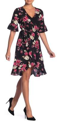 Bobeau Floral Print Mock Wrap Ruffle Dress