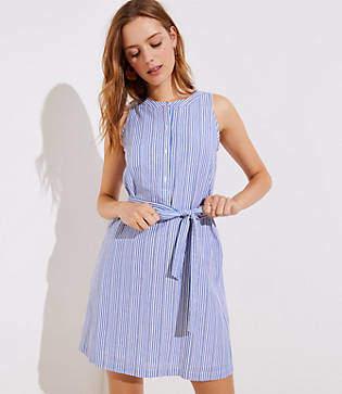 LOFT Petite Striped Tie Waist Henley Dress