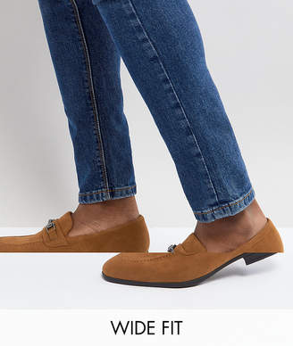 Asos Wide Fit Loafers In Tan Faux Suede With Snaffle Detail