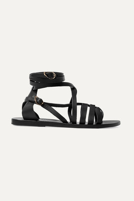 Ancient Greek Sandals Satira Leather Sandals - Black