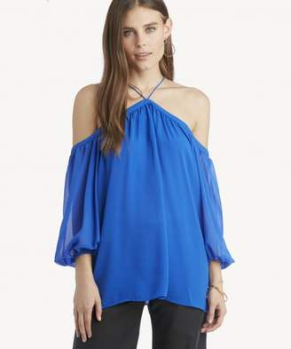 Sole Society L/S High Neck Blouse W/ Chiffon Sleeves